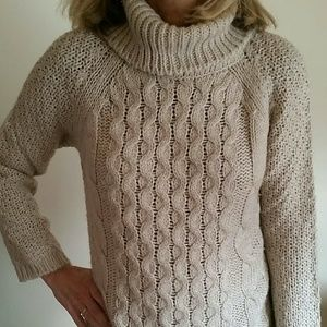 Chunky Cowl Neck Cable Knit Sweater